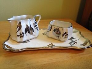 Sandland Ware vintage creamer sugar and serving tray