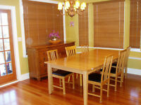 Solid maple wood table $425 and chairs