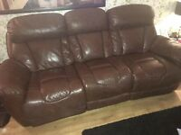 Brown Leather DFS Sofa Suite