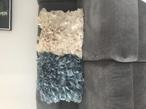 3 satin ruffle throw pillows  from Pier 1 - Ivory and teal