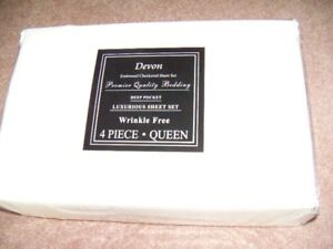 Queen Size Sheets, BRAND NEW in pkg, Deep pockets, Ivory colour