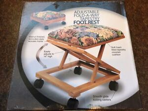 Adjustable Fold-A-Way Tapestry Footrest - New
