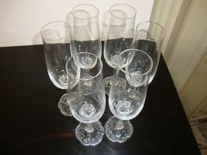 6 BEAUTIFUL SWEDISH CRYSTAL CHAMPAGNE GLASSES PLUS 3