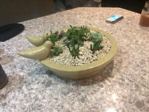 Bird bath cactus planter