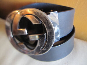 Gucci Black Leather Belt And Buckle Made In Italy