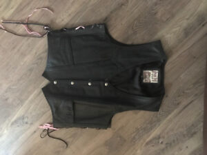 Leather chaps and vest Black