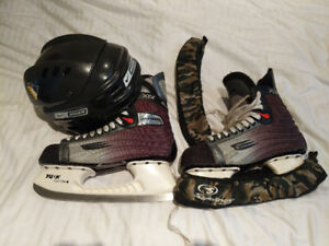 Size 11 and 1/2 Bauer hockey ice skates and Bauer hockey helmet