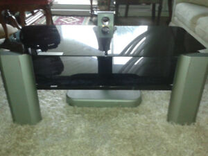 Sturdy TV Stand...Silver Frame with Black Glass.
