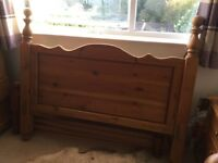 Solid Antique Pine double bed frame - gorgeous carved headboard.