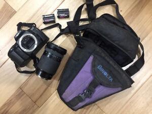 Minolta Maxxum SPxi Autofocus 35mm SLR Camera w/ extas