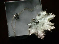 Silver dipped maple leaf necklace
