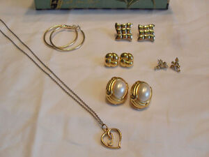 Lot of Earrings and Necklace with Heart Pendant
