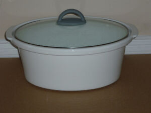 White Ceramic Roaster or Dutch Oven .. as shown .. like New ..