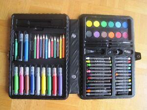 Malette d'artiste (crayons couleurs, cire, pastel, peinture, etc