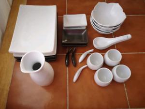 Service à sushi + à saké (ceramic sushi set - sake set)