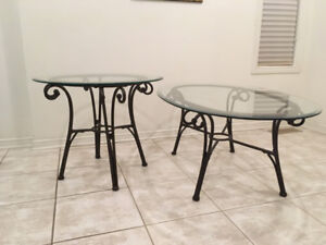 Stylish Bronze Metal Glass-Top Coffee Table and End Table Set
