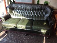 Chesterfield style green leather 3+2+1 leather three piece suite