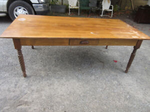 Antique  HARVEST Table - 7 ft. Great Legs!