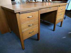 GORGEOUS OAK DESK WITH GREAT BRASS DETAIL AT CHARMAINE'S