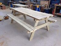 Newly made Heavy duty Rustic 6ft treated picnic table bench. Made from 5x2's
