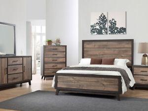6pc Rustic Solid Wood Queen bedroom set $999.