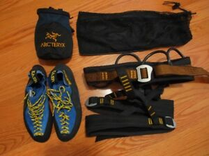 Rock Climb shoes, harness and chalk bag