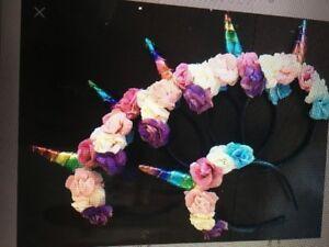 kids unicorn headbands and chunky bead necklaces