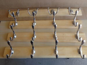 Solid Natural Wood + Chrome Coat Hooks (from Cdn Tire)
