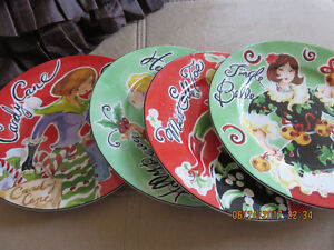 Vintage  Porcelain Plates Miss Elle,Candy Cane,Holly Berry
