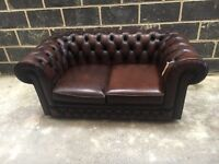 Brown Leather Chesterfield 2 Seater Sofa - Thomas Lloyd - UKDelivery