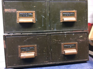 VINTAGE METAL TWO DRAWER FILING BOX CABINET