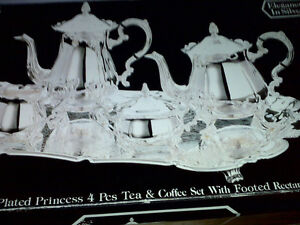 Elegance in Silver Plated Tea & coffee set with footed Tray Windsor Region Ontario image 1