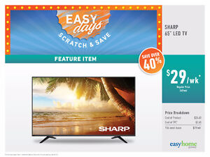 "Sharp 65"" Smart LED TV $29 / Week!! No Credit Needed!!!!"