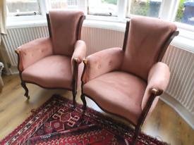 Vintage unique armchairs in dusky pink velour
