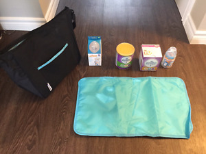 Diaper Bag with brand new bottles and formula -great starter kit
