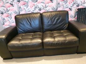 Black leather 2 seat sofa
