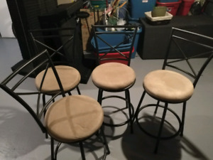 Bar stools, tools, folding chairs and table