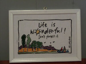 Life is Wonderful Don't forget it Framed Cross-stitch
