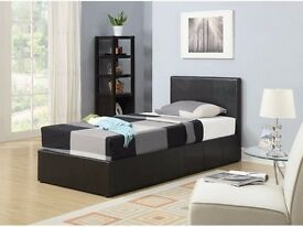LIMITTED OFFER Single 3 FT Ottoman leather bed in black, brown and white color with mattress