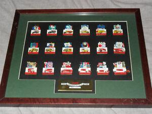 Framed 1998 Nagano Olympic Pin LE Set + Jays Bobblehead