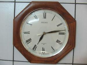 Classic Solid Oak/Maple Wood Frame Seiko Quartz Wall Clock 1980s