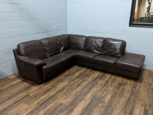 Brown high-end real leather sectional. FREE DELIVERY