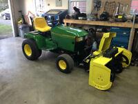 John Deere 445 Garden Tractor, Blower, Mower