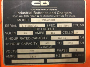 Battery charger for electric lift truck