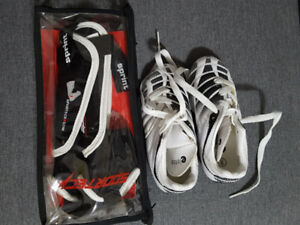 Size 9 for toddler soccer cleats with shin pads