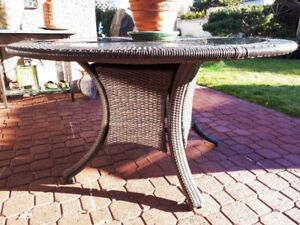 Granite and Rattan Patio Dining Table