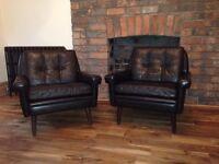 Vintage Danish Skipper Black Chairs