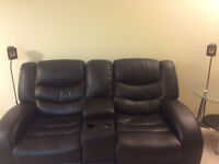 Angus Bonded Leather Reclining Loveseat with Console –Dark Brown