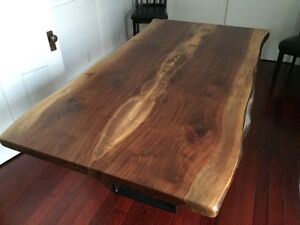 Rustic solid wood furniture, live edge tables bench cabinet