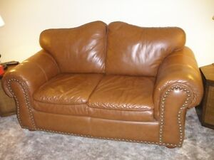 Leather Love Seat; High back chairs